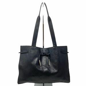 AUTHENTIC Gucci Black Leather Tie Tote Bag Purse